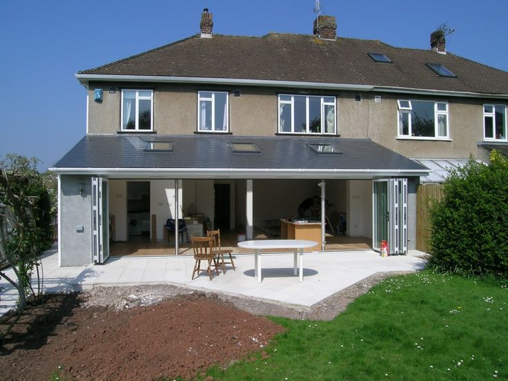 Single storey extension with solar PV tiles