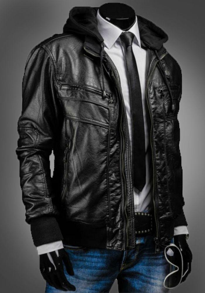 ddf17052425 Men's Slim Fit Black Hooded Leather Jacket in 2019 | Mens Hooded ...