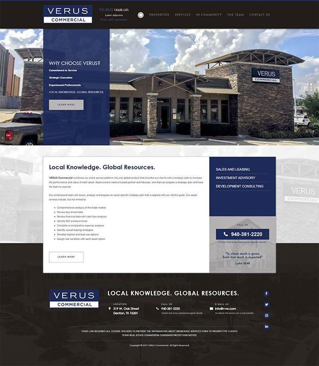 Denton Texas Based Verus Commercial Launches New Website Verus Commercial Based In Denton Texas Contacted Red Spot Design Looking To Re Design Their Outdated S