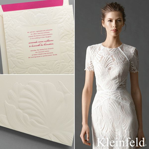 Perfect Pair || Watters short-sleeve bridal dress from Kleinfeld Bridal paired with 'Love Is Blind' modern-romantic wedding invitation from Kleinfeld Paper || http://www.kleinfeldpaper.com/retailer_locator.cfm