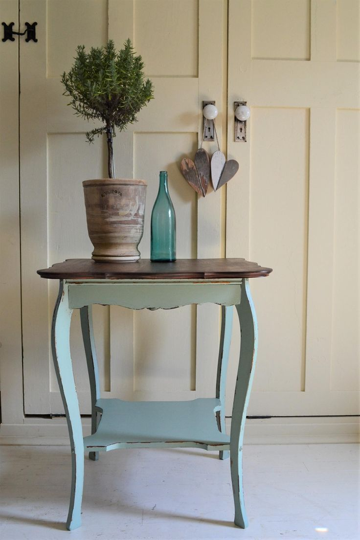 - Farmhouse Style End Table , Chalk Paint Distressed Pale Green