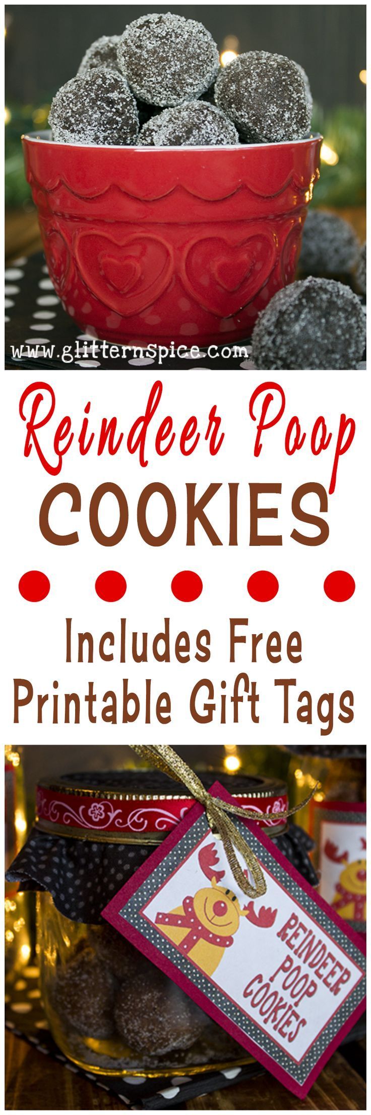 Reindeer Poop Cookies And Free Printable Gift Tags
