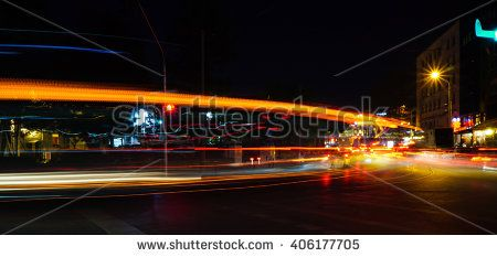 Abstract Light Trails of Some Cars at Night Time