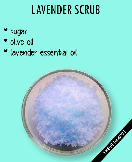 Get the silkiest, smoothest skin Coffee scrub  Aromatic coffee scrub made with fresh coffee powder awakens the senses as it exfoliates, cleanses and Stimulates circulation in the skin. 1 cup coffee grinds 1/2 cup olive oil Mix and massage on your face as well as your body for a rejuvenating spa treatment at home. Lavender