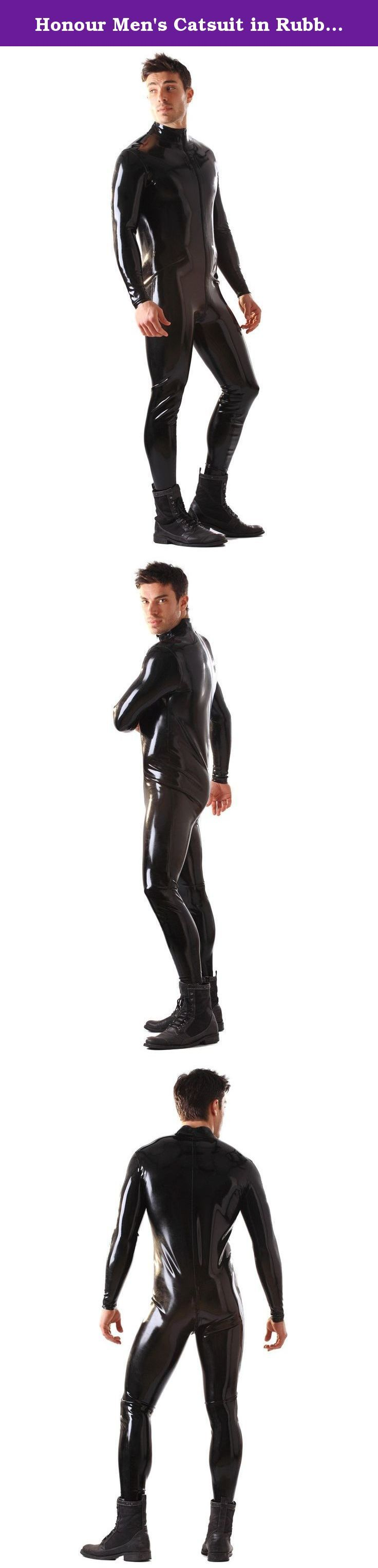 Honour Men's Catsuit in Rubber Black size M. Classic glued rubber catsuit, with high collar, long sleeves, and a two-way front zip runs from the neck to the bottom of the back, for easy access.