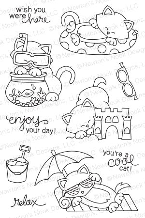 Newton's Nook Designs NEWTON'S SUMMER VACATION Clear Stamp Set 20140702