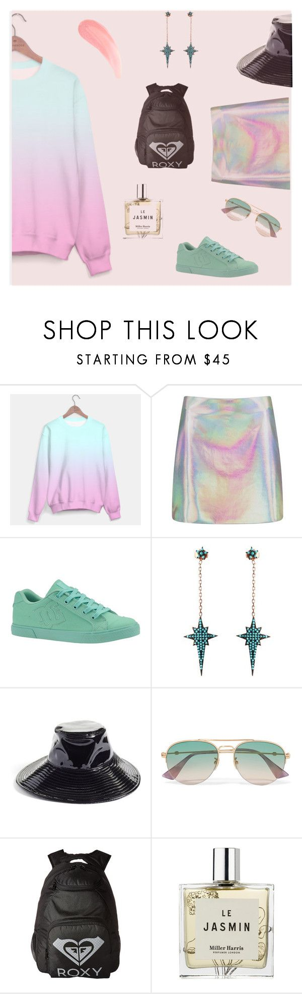 """""""Girls Outfit #12"""" by pureclothingco on Polyvore featuring moda, Nasty Gal, DC Shoes, Wild Hearts, Eric Javits, Gucci, Roxy, Miller Harris, outfit y chic"""