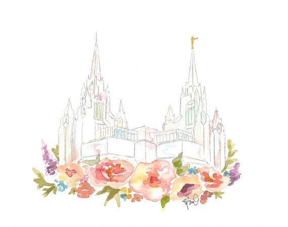 LDS Temple Watercolor San Diego by SweetnSandy on Etsy
