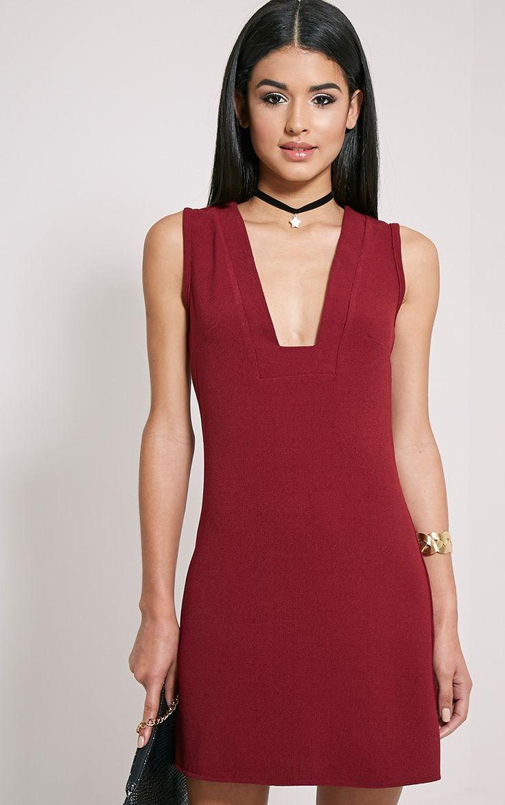 Jadako Burgundy Sleeveless Loose Fit Square Neck Dress