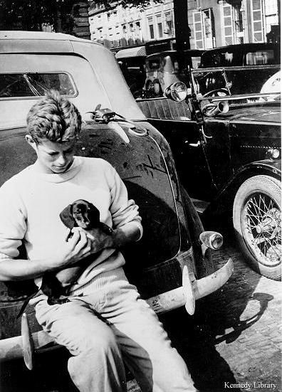 Young John F. Kennedy and doxie puppy!