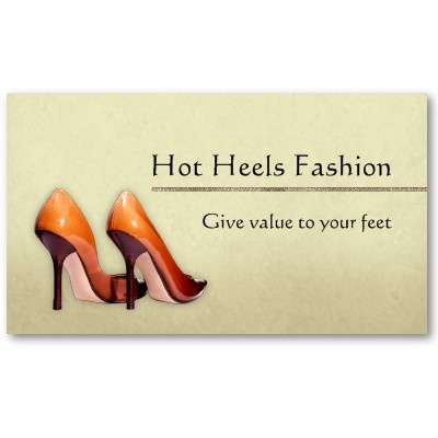 Hot Shoes Boutique Business Card (pack of 100)  Two sided classy business card with shiny, orange high heels shoes on light beige grunge background. Great and unique for stores, boutiques or other companies and professionals who work in fashion business. $21.05 #shoes #business #fashion