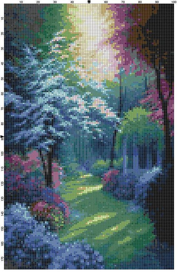 Cross Stitch Pattern Beautiful Secluded Garden PDF Instant Download Digital File…
