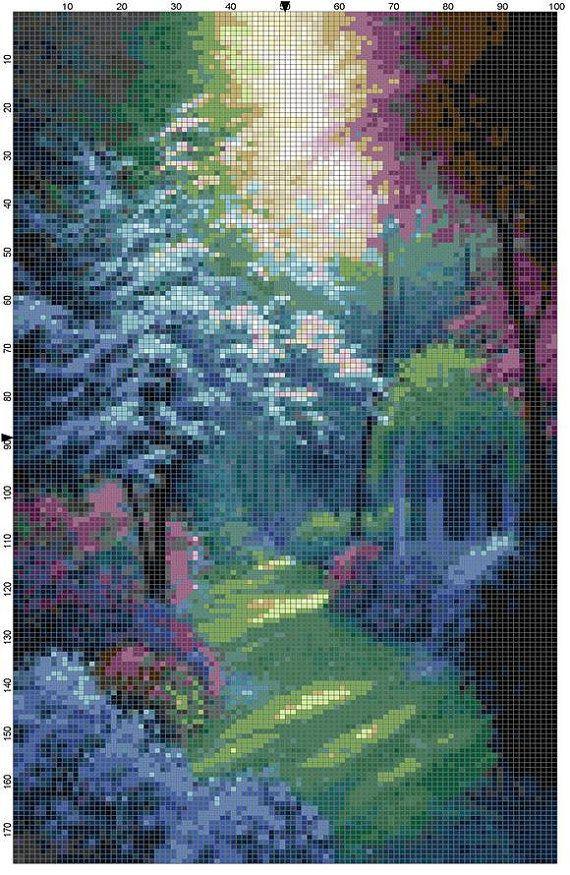 Cross Stitch Pattern Beautiful Secluded Garden PDF Instant Download Digital File…