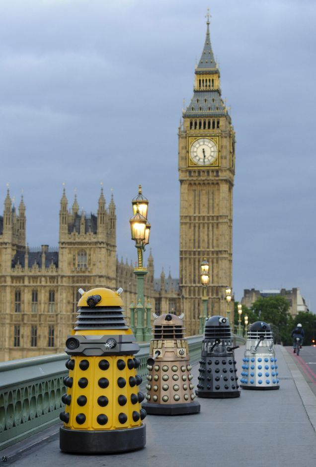 Four generations of Daleks cross Westminster Bridge yesterday in re-enactment of a classic Doctor Who scene from 1964! Press Association Photo