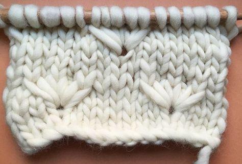 De Dandelion flower stitch ziet er moeilijk uit, maar is juist heel gemakkelijk te breien en geeft een leuk effect als je met een dik garen breit.
