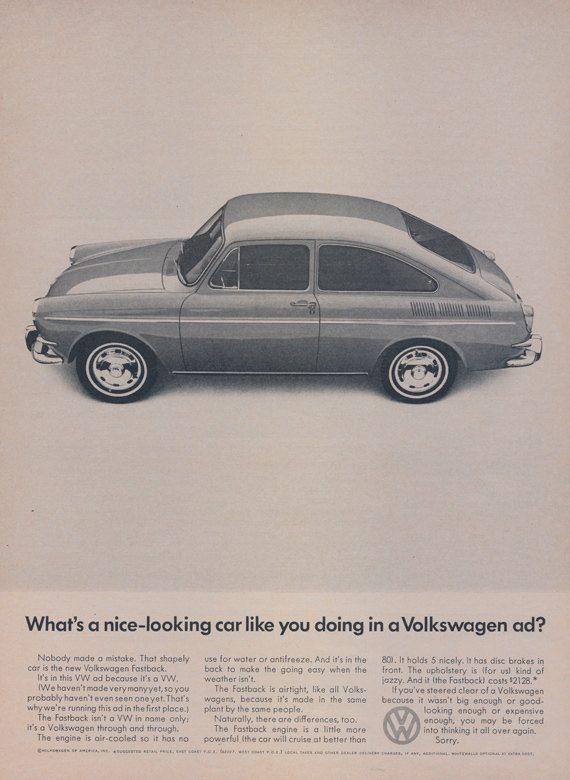 1966 Volkswagen Fastback Car Ad VW Automobile by AdVintageCom