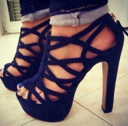 black strappy high heels