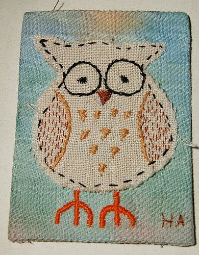 Owl embroidery artist trading cards