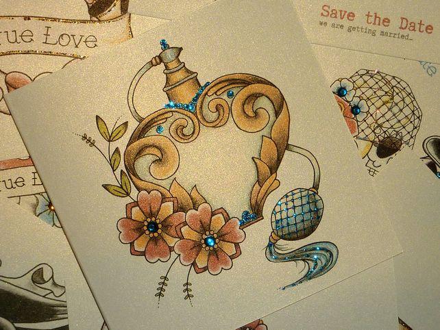 Vintage Perfume Atomiser Tattoo Alternative Handmade Card £2.85