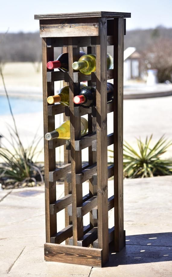 Standing Wood Wine Rack 12 Bottle Or 6 Bottle Etsy Diy Wine Rack Wood Wine Racks Wine Rack Design