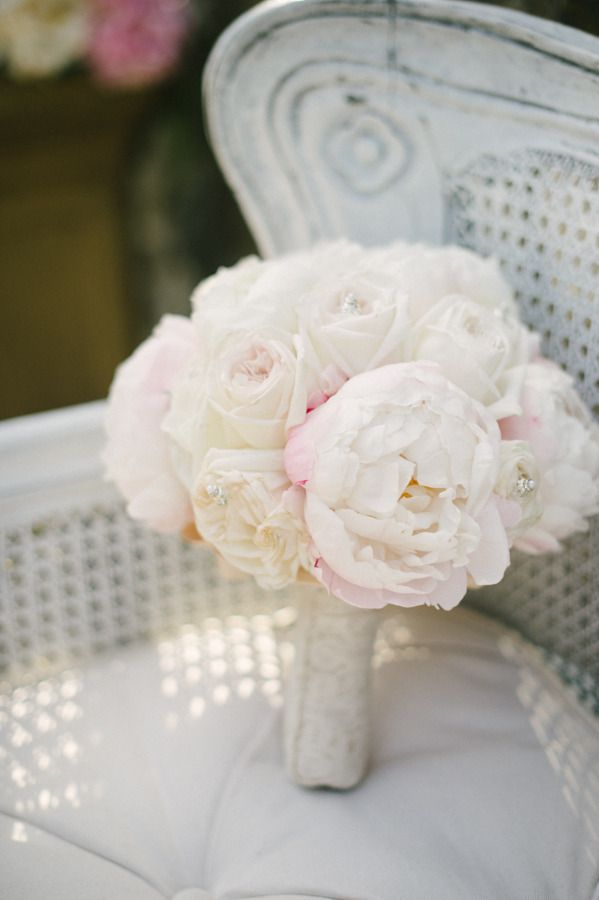 Peony and Rose Bouquet with a touch of bling!   Amy and Stuart Photography