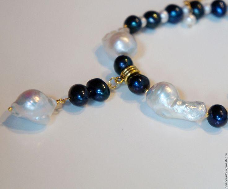 Купить жемчужное колье ожерелье с подвеской Ночные огни натуральный жемчуг - колье