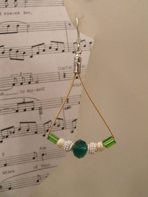 Guitar String Beaded Earrings Wire Jewelry by ThingsUpcycled, $10.00