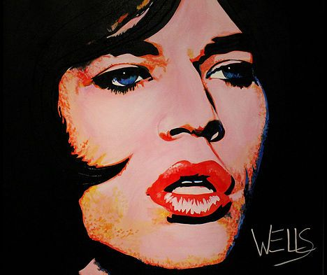 JAGGEREYES ART BY STACEY WELLS . Mick Jagger in this vintage style, Hollywood pop art by Stacey Wells