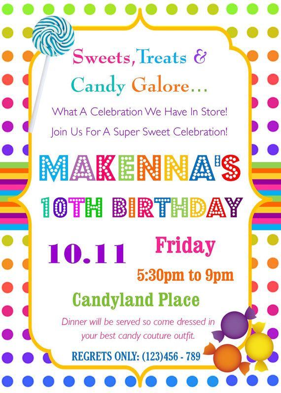 73 best candy land party images on pinterest birthdays candy candyland birthday party invitation sweets treats candy galore birthday invitation stopboris Choice Image