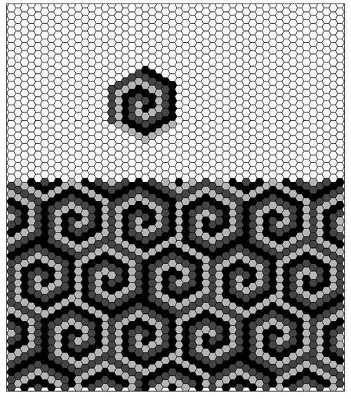 hexagon swirls would be a great border!Handmade tiles can be colour coordinated and customized re. shape, texture, pattern, etc. by ceramic design studios