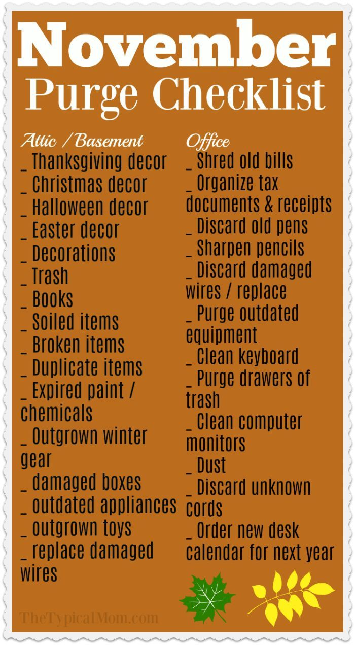 Monthly Home Organization Checklist For November Cleaning Hacks House Cleaning Tips Cleaning