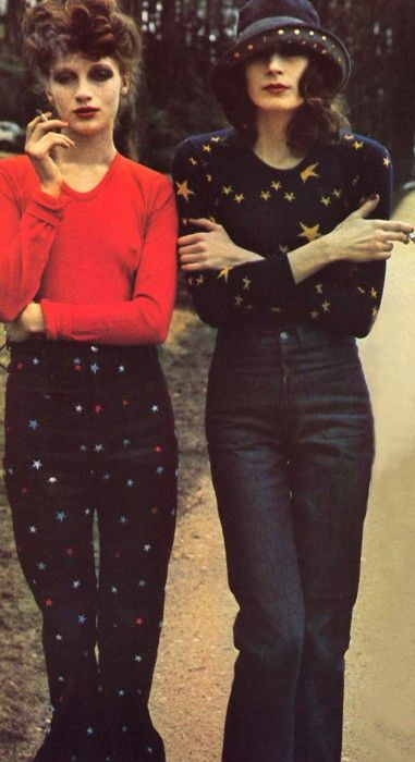 Amazing fashion - love the star blouse on Angelica Houston....I think these are the Halston days.