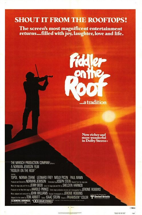 Fiddler on the Roof (1971) In prerevolutionary Russia, a Jewish peasant contends with marrying off three of his daughters while growing antisemitic sentiment threatens his village. Topol, Norma Crane, Leonard Frey...13,15