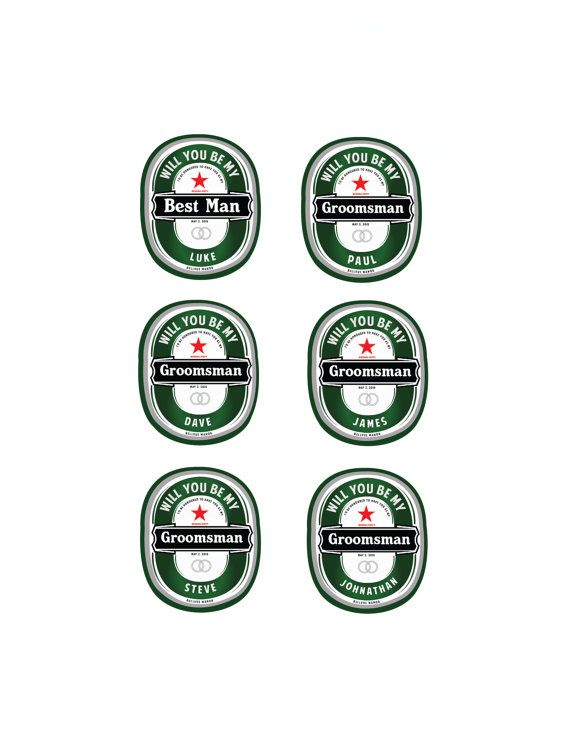 Personalized Sticker, Groomsmen Sticker, Heineken Sticker, Will you be my Groomsman, WIll you be my Best Man on Etsy, $25.00 CAD