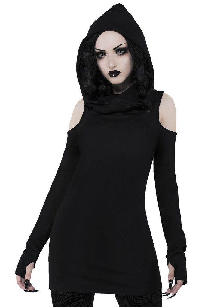 Gothic Fashion PENTAGRAM JUMPER Restyle Black women/'s hoodie with harness