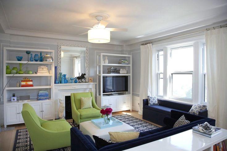 White Themed Navy Living Room Ideas With Elegant Dark Blue
