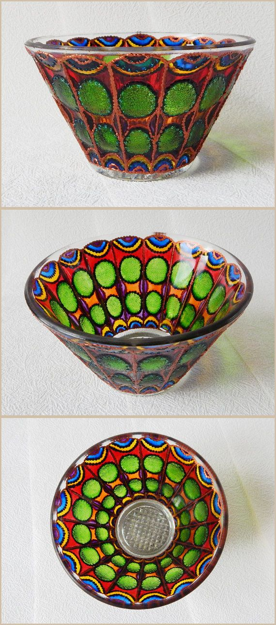 RichanaDragon ||| Butterfly wings (b - green). Glass salad bowl with stylized butterfly wings pattern. Rainbow colored candle holder in fairy style. Hand painted stained glass. ||| ○ SIZE: 12х8 cm / 4.72x3.15 inch ○ NET WEIGHT: 300 g / 0.66 lb
