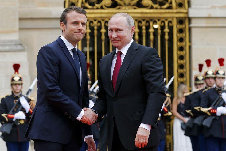 MACRON MEETS PUTIN AND BLASTS RUSSIAN STATE-OWNED MEDIA AS 'LYING PROPAGANDA'