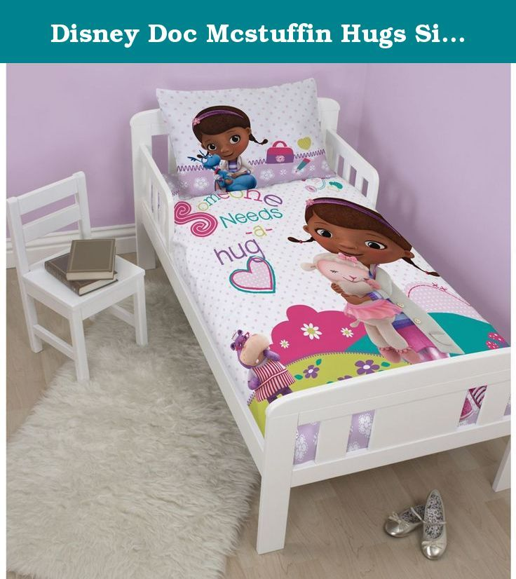 Disney Doc Mcstuffin Hugs Single/US Twin Panel Duvet Set. Disney Doc McStuffins Hugs Toddler Bed Duvet Cover & Pillowcase Set 100% Official Disney Doc McStuffins merchandise Duvet Cover size: 120cm x 150cm (47in x 59in) Pillowcase size: 42cm x 62cm (16.5in x 24.5in) 50% cotton, 50% polyester Machine washable To fit cot, junior and toddler beds Colour: Various Plese note: comforter ans pillow not included If your little one is a fan of Doc McStuffins this junior duvet cover set is the bed…