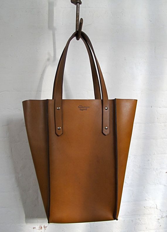 The Large Seamed Tote  Tan leather by TheButcherByrd on Etsy