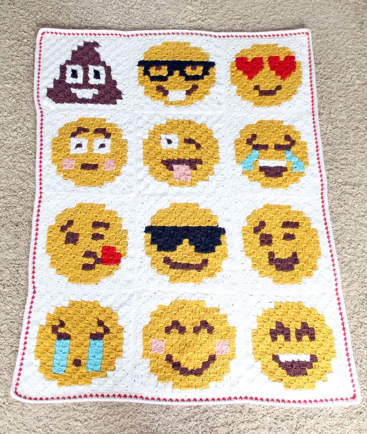 It's finished! The C2C (Corner to Corner) Emoji Blanket is done and I love it so much. The pattern was really fun to make. I can't wait to try more C2C patterns in the future. This desi…