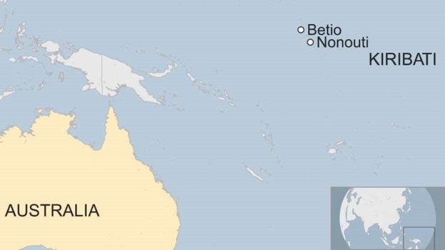 A map showing the Kiribati Islands in relation to Australia