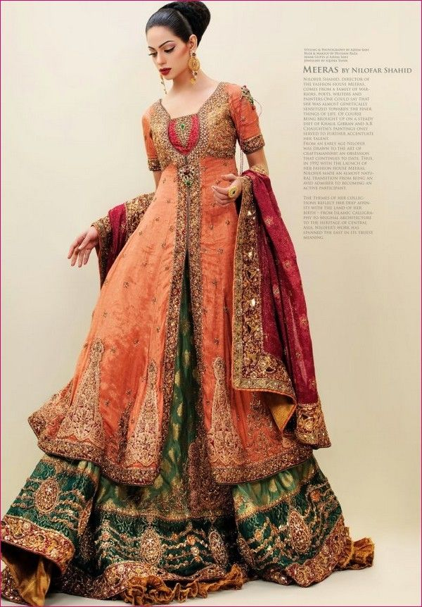 Absolutely stunning bridal outfit by Nilofer Shahid (2012). What I want to know is -- does this outfit come with stilts, or is this model actually seven feet tall?