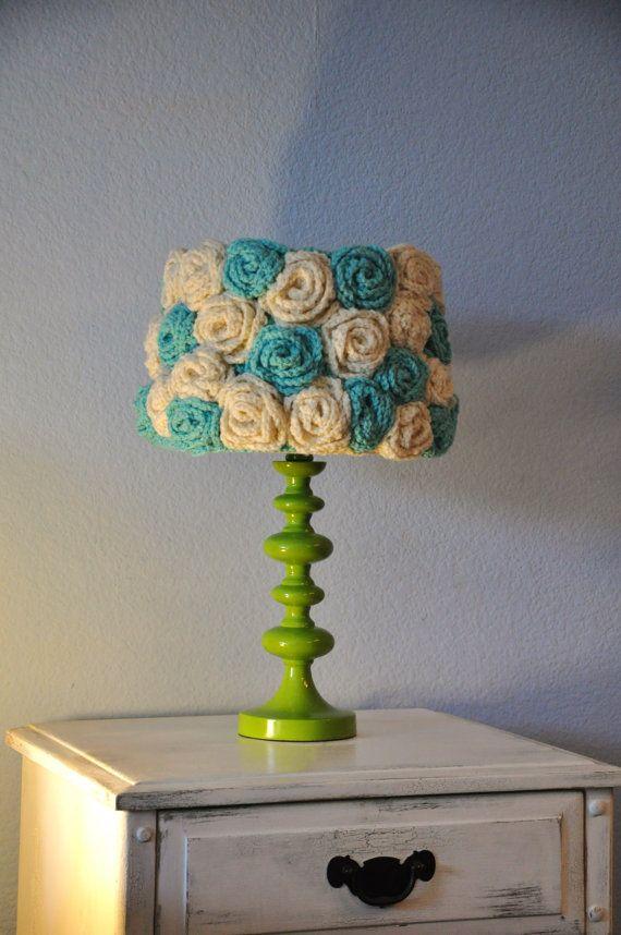Lamp shade Crochet Aqua & Ivory Flowers by ShepherdoftheSea, $75.00
