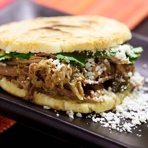 For a carby-kind of craving, throw together #GF Arepas and serve them Venezuelan-style with Pulled Pork. Leftover Arepas can be easily frozen and enjoyed whenever that craving hits. From Serious Eats, found at www.edamam.com.