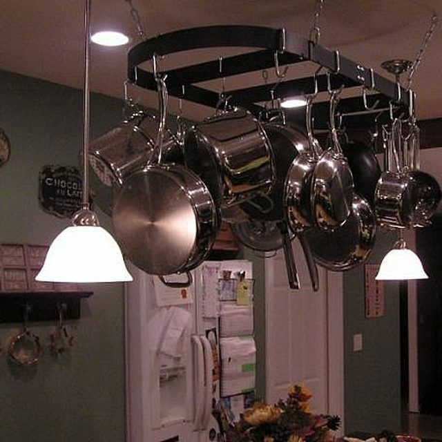 how to hang a pot rack and lights over a kitchen island in 2018