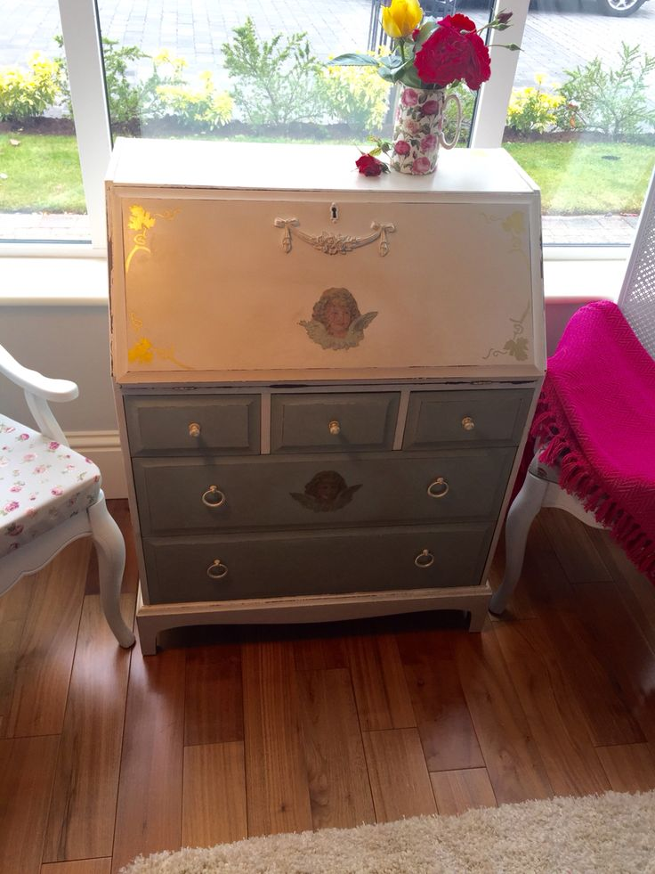 Painted Shabby Chic writing bureau in Linen and Persian Blue with a delicate moulding. Distressed. Check out: Shabby Chic in Laois in Facebook.