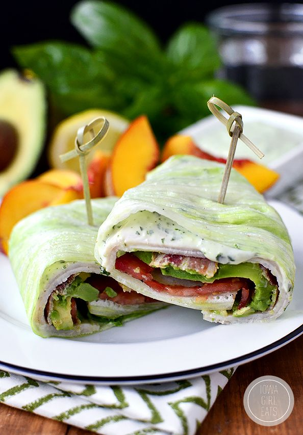 California Turkey and Bacon Wraps With Basil Mayo #paleo #lunch #recipes http://greatist.com/eat/paleo-lunch-recipes