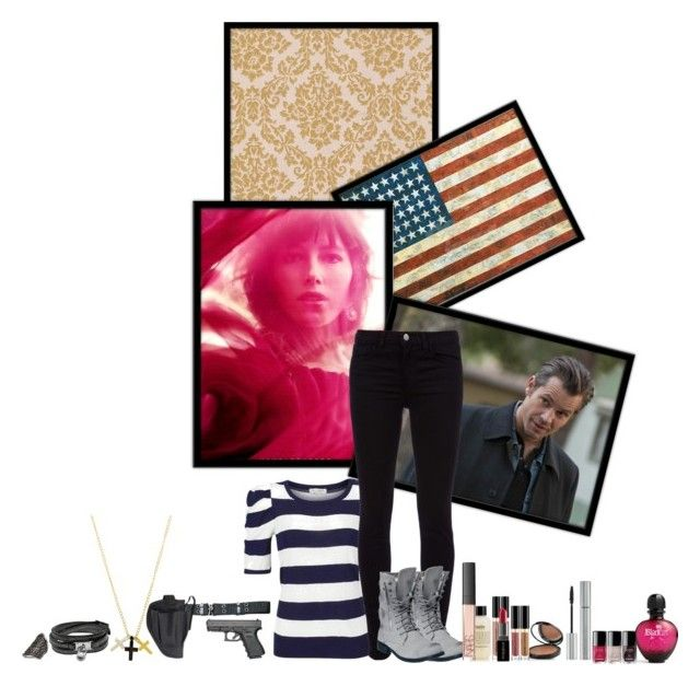 """""""Justified (TV series)"""" by ajpasquim ❤ liked on Polyvore featuring Margit Brandt, J Brand, Holster, Dogeared, Michael Kors, Paco Rabanne, philosophy, Giorgio Armani, Chanel and NARS Cosmetics"""