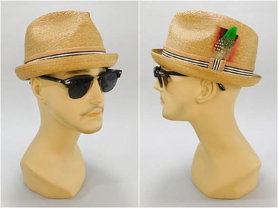 1950s - 1960s Vintage / Porkpie Hat / Extra Quality Made in Italy / Milan Straw Hat / Short Brim Fedora / Size 7-1/8 / Mad Men Style #TrilbyHat #MadMenHat #MidCenturyHat #VintageFedora #MidcenturyHat